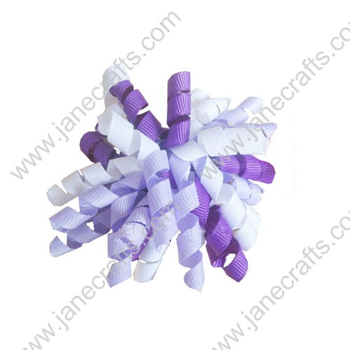 "Cute Light Violet and White Korker Hair Bow Clips 3.5""-10pcs"
