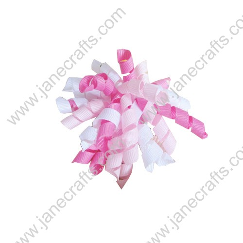 "Cute Pink and White Korker Hair Bow Clips 3.5""-10pcs"