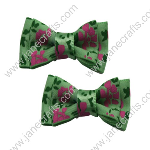"1-1/2"" Flower Two Layer Satin Hair Bow in Green-24pcs"