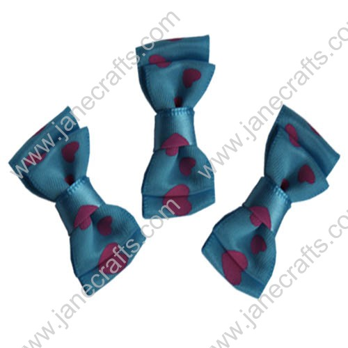 "1-1/2"" Two Layers Satin Hair Bow Clips with Heart Print in Turquoise-2"