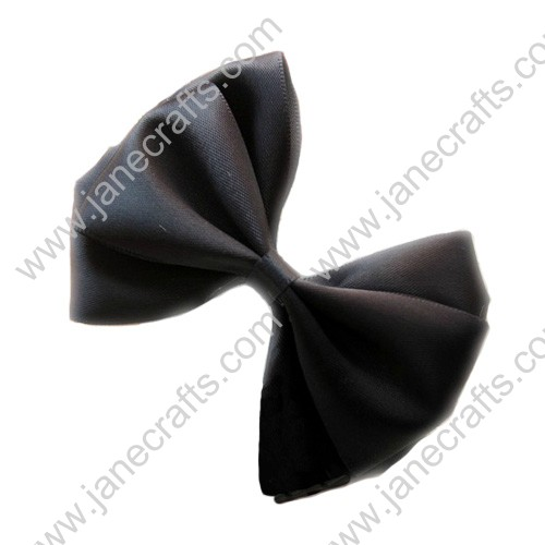 "3"" Three Layers Satin Hair Bow in Black-12pcs"