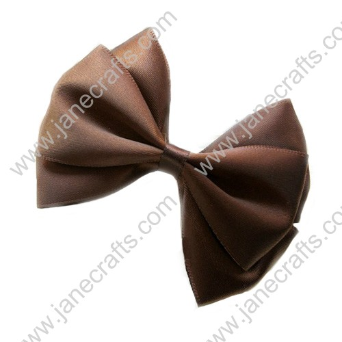 "3"" Three Layers Satin Hair Bow in Brown-12pcs"
