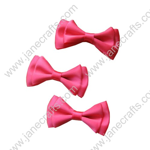 "1 3/4""Cute Solid Two Layer Satin Hair Bow in Shocking Pink-48pcs"