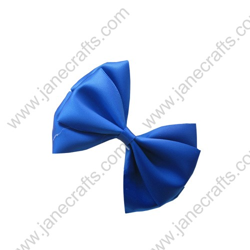 "3"" Three Layers Satin Hair Bow Clips in Sapphire Blue-12pcs"