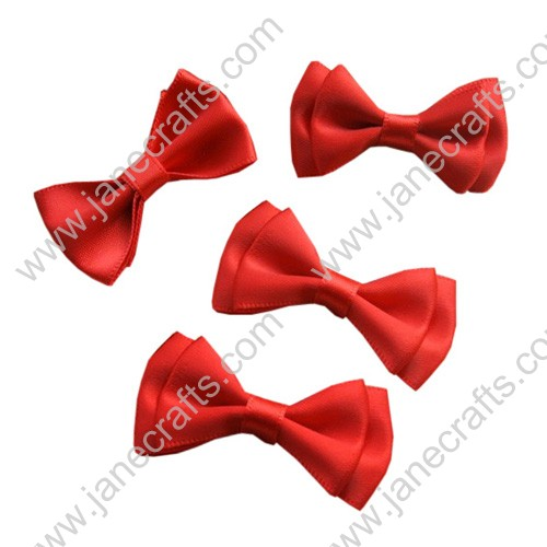 "1 3/4""Charming Solid Satin Hair Bow Clips in Orange Red-48pcs"