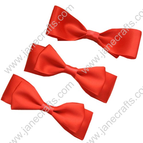 "2 7/8"" Charming Solid Satin Hair Bow Clips in Orange Red-12pcs"