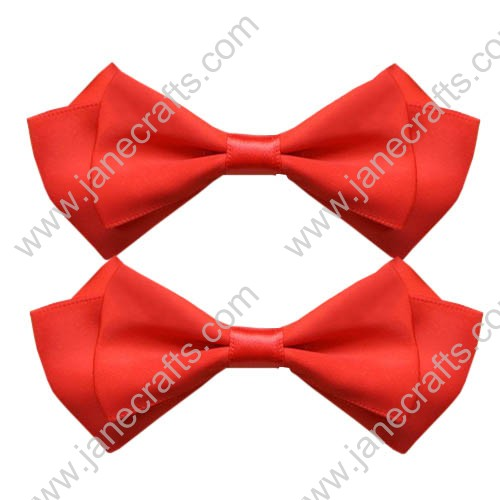 "3.5"" Three Layers Solid Satin Hair Bow Clips in Orange Red-12pcs"
