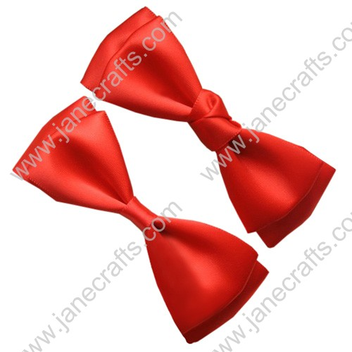 "3 3/4"" solid Two Layer Satin Hair Bow Clips in Orange Red-12pcs"