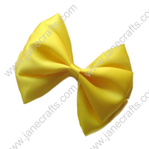 "3"" Three Layers Satin Hair Bow in Yellow-12pcs"