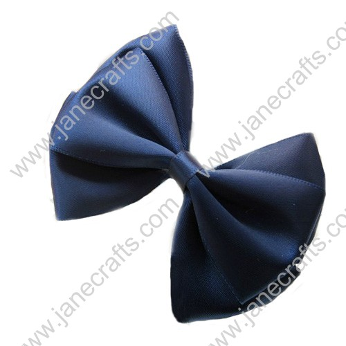 "3"" Three Layers Satin Hair Bow in Navy-12pcs"