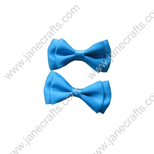 "1 3/4""Charming Solid Two Layer Satin Hair Bow Clips in Turquoise-48pcs"