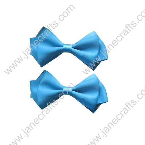 "3.5"" Three Layers Solid Satin Hair Bow Clips in Turquoise-12pcs"