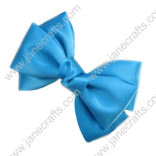 "4 1/4"" Three Layers Satin Hair Bow in Turquoise-12pcs"