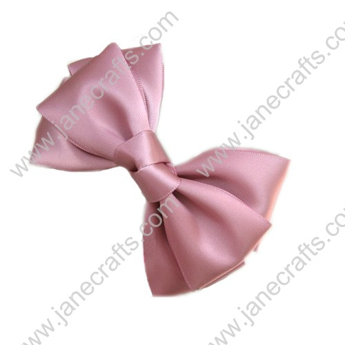 "4 1/4"" Three Layers Satin Hair Bow in Light Pink-12pcs"