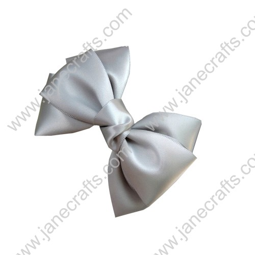 "4 1/4"" Three Layers Satin Hair Bow in Silver-12pcs"