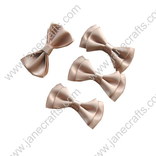 "1 3/4"" Charming Solid Two Layer Satin Hair Bow Clips in Wheat-48pcs"