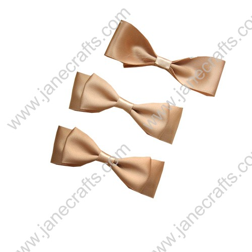 "2 7/8"" Charming Solid Two Layer Satin Hair Bow Clips in Wheat-12pcs"