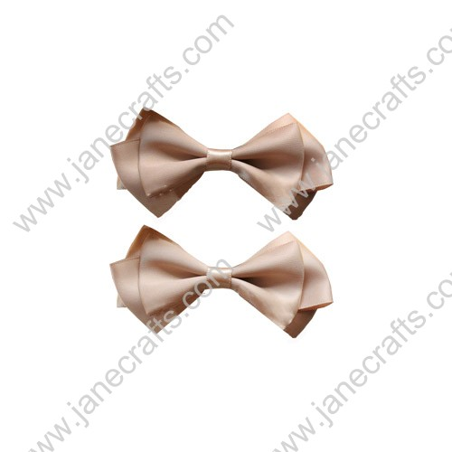 "3.5"" Three Layers Solid Satin Hair Bow Clips in Wheat-12pcs"