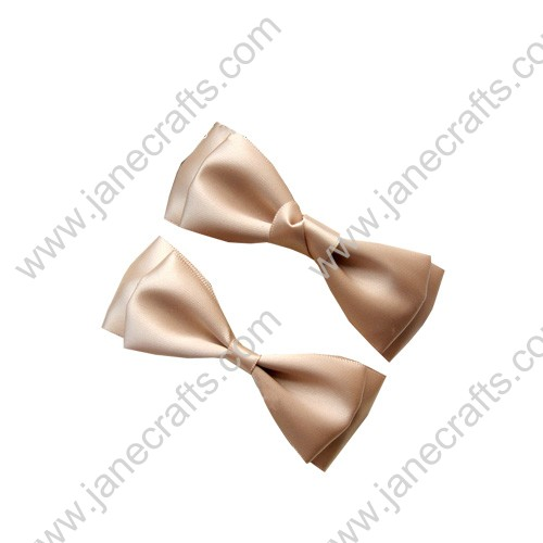 "3 3/4"" solid Two Layer Satin Hair Bow Clips in Wheat-12pcs"
