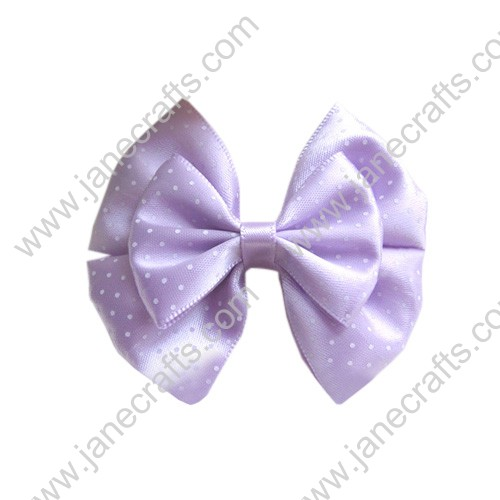 "2 5/8"" Three Layer Satin ribbon Hair Bow with Dot in Lt Orchid"