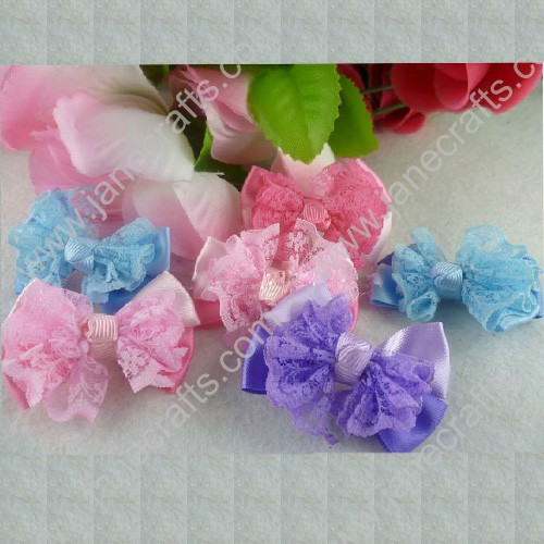 "1 3/4"" Beautiful Lace and Satin Hair Bow-24pcs"