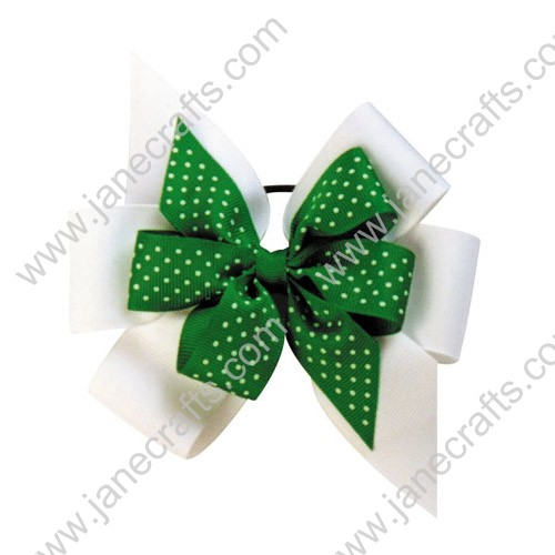 Double Layered Cheer Bows White and Apple Green Polka Dot by dozen