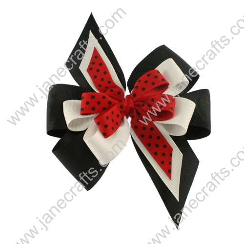 Tripped Layered Cheer Bows Black and White and Red with Polka Dot by Dozen