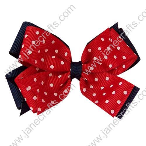 "12PCS Wholesale Lots 3"" Double Layered Grosgrain Baby Hair Bow in Navy, Red w/Polka Dot"