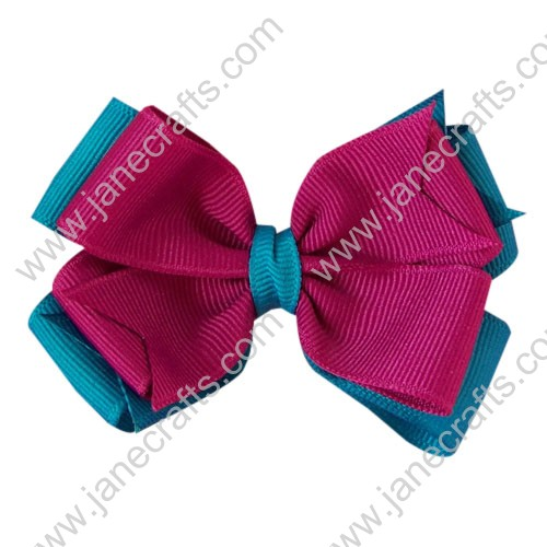 "12PCS Wholesale Lots 4"" Double Layered Grosgrain Baby Hair Bow in Turquoise and Fuchsia"