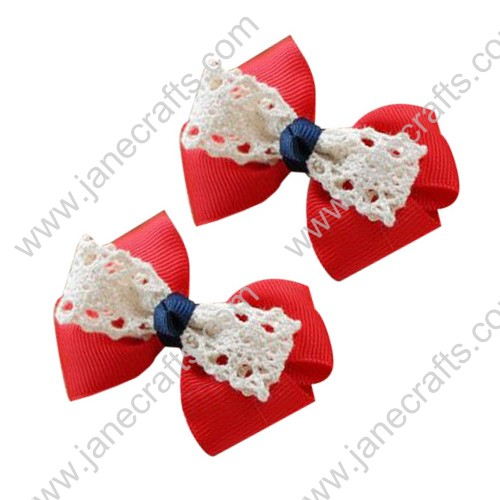 "24PCS Wholesale Lots 3"" Double layered Grosgrain Babby Toddler Hair Bow in Red"
