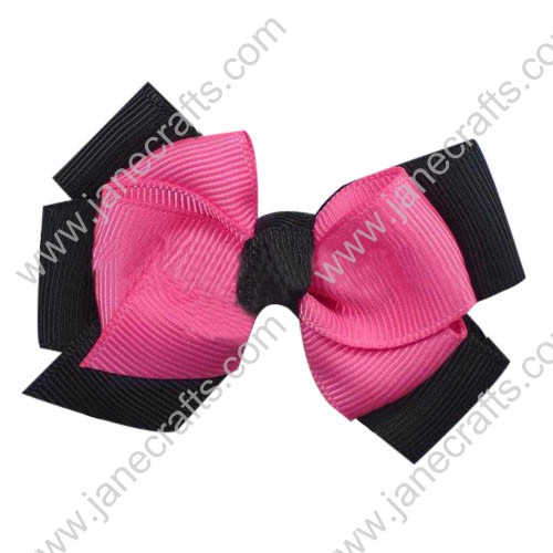 "24PCS Wholesale Lots 3.5"" Two Tone Color Double Layered Pinwheel Hair Bow in Black shocking Pink"