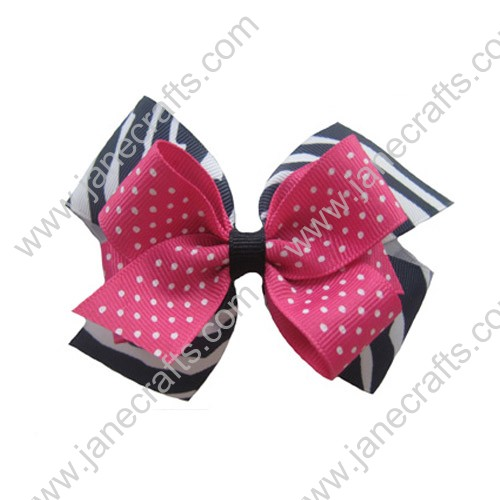 "4"" Large Layered Hair Bow Clips Zebra w/Shocking Pink Swiss-12PCS"