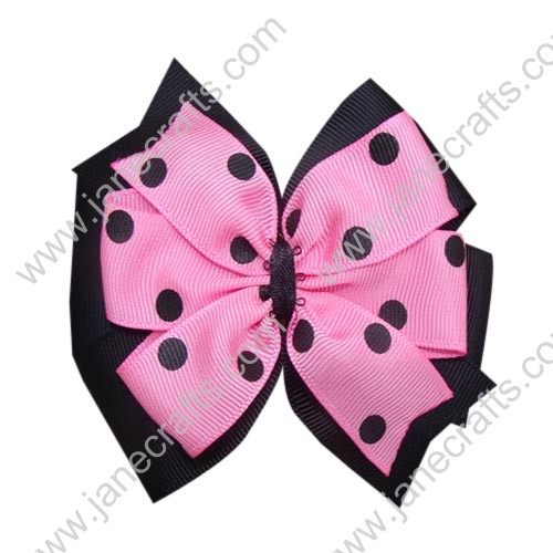 "12PCS Wholesale Lots 4"" Polka Dot Two Tone Color Layered Pinwheel HairBow Clips-Pink/Black"