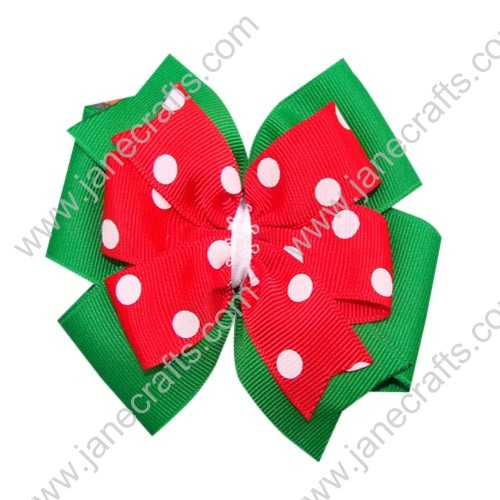 "12PCS Wholesale Lots 4"" Polka Dot Christmas Double Layered Pinwheel HairBow Clips-Red/Green"