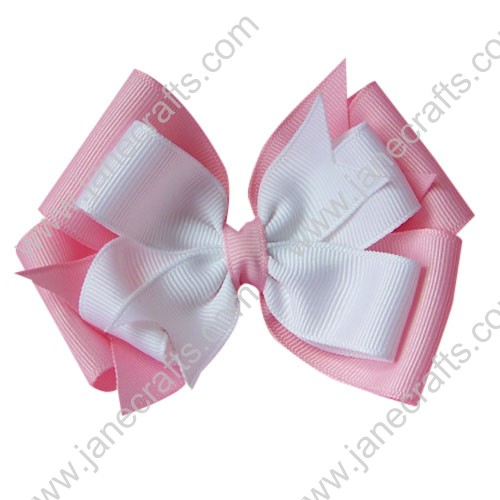"12PCS Wholesale Lots 4"" Double Layered Grosgrain Baby Hair Bow in Lt Pink and White"