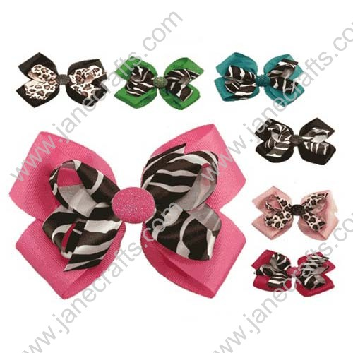 "4.5"" Animal Print Layered Hair Bow Clips 12PCS-Hot Pink/Zebra"
