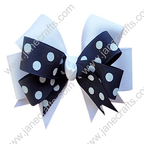"12PCS Wholesale Lots 6"" Large Polka Dot Two Tone Color Layered School Uniform Hairbow-Navy Blue/White"