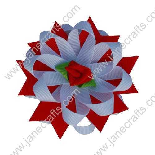 "12pcs 3"" Red Rose Layered Spiked Fluffy Flower Grosgrain Hair Bow Clips"