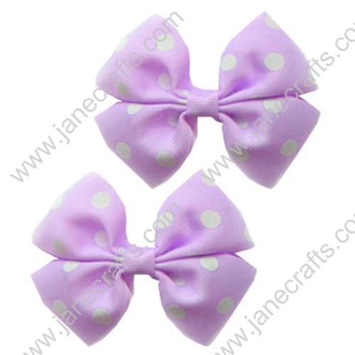 "3.5"" Polka Dot Pinwheel Hair Bow Light Orchid/White Dot-30pcs"