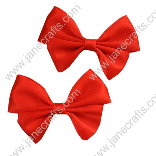 "1 3/4"" Two Layers DIY Satin Hair Bow in Orange Red-24pcs"