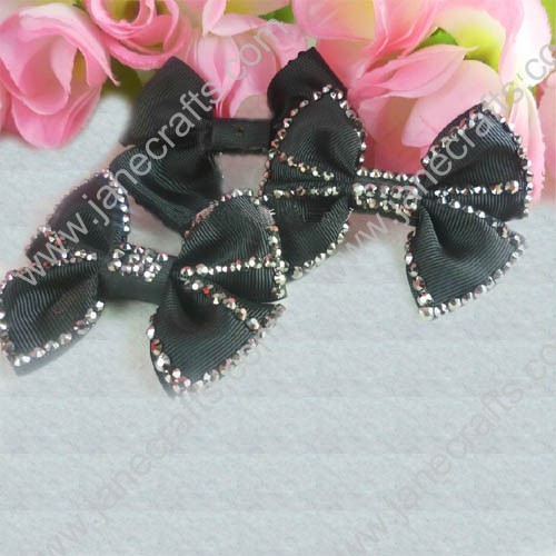 "2 1/4"" Black Pinwheel Hair Bow with beads Edge and Center"