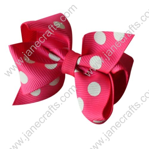 "12PCS 2.5"" Wholesale Lots Swiss Polka Dot Chunky Pinwheel Hairbow in Shocking Pink/White"