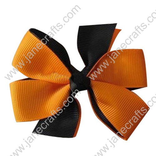 "3"" Black/Tangerine Halloween Girls's Hair Accessories Pinwheel HairBow Clips Wholesale Lot-24pcs"