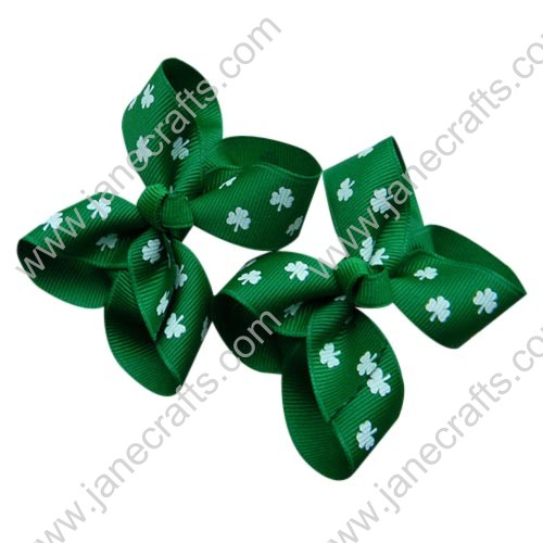 "12PCS 3"" Wholesale Lots Shamrocks Printed Two Loop Chunky Baby Toddler Hairbow in Green"