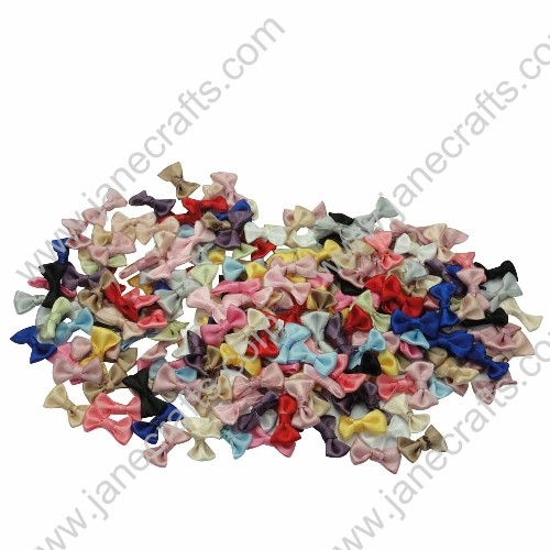 "3/4"" Solid Mini Satin Bowtie Bow in Mixed Colors-100pcs"