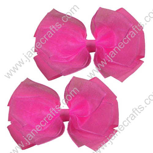 "3"" Delightful Organza Hair Bow in Hot Pink-24pcs"