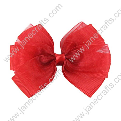 "3"" Delightful Organza Hair Bow in Red-24pcs"
