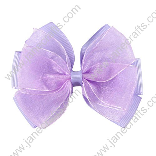 "3"" Delightful Organza Hair Bow in Light Orchid-24pcs"