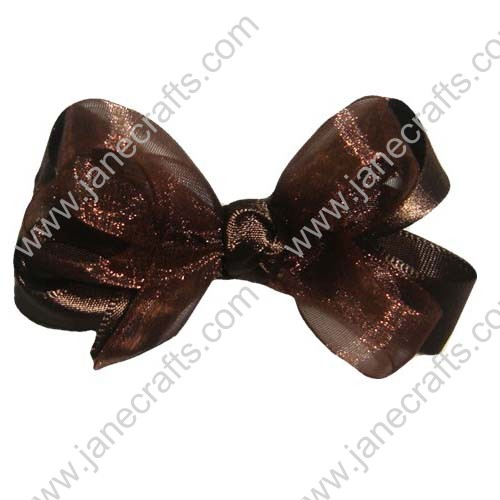"2 1/2"" Organza Satin Hair Bow in Brown-24PCS"