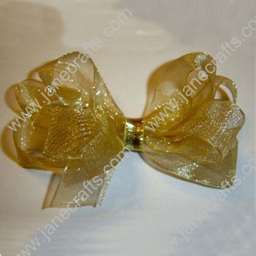 "3"" Gold Glitter Organza Hair Bow Clips-24PCS"